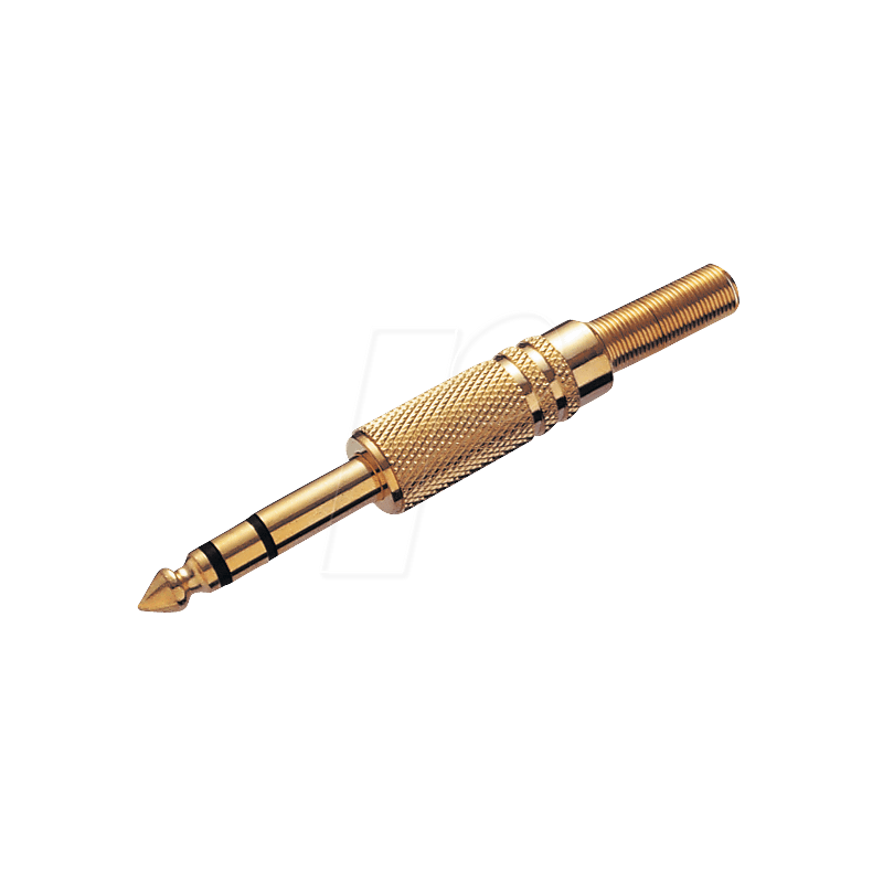 Jack plug, 6.3 mm stereo, gold-plated
