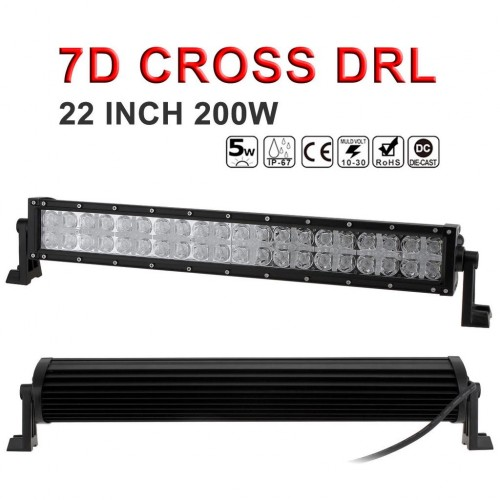 7D Cross DRL 22 Inch 200W LED Work Light Bar 40 LED Beam Combo Led Offroad for SUV & Truck & ATV