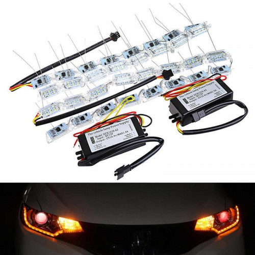 LED Strip Light White Amber Crystal Water Lamp With Telescopic Steering DRL Turn Signal lights