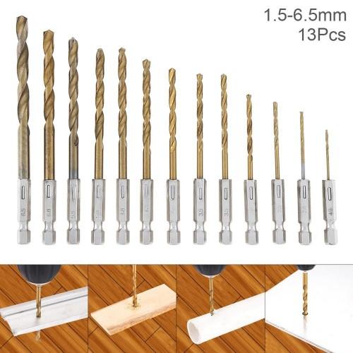 13pcs/lot 1.5-6.5mm HSS Hexagonal Titanium Coated Drill Bit Set 1/4 Hex Shank Twist Drill for Woodworking Metal Tools Set