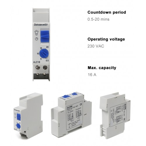 ALC18 Din rail Staircase Lighting Timer Switch timer relay 220VAC 16A used for corridor lighting Mechanical Din Rail timer