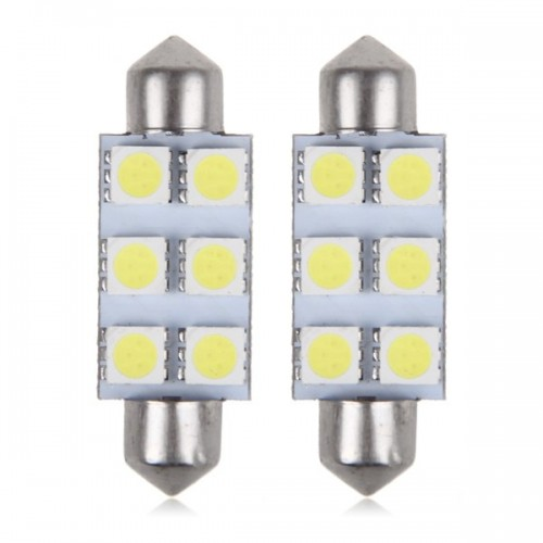 42mm6SMD AUTO LED LAMP 42mm WHITE 2 τεμαχια