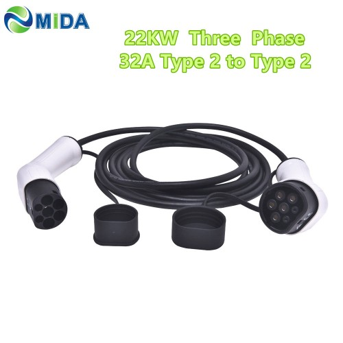 32A 22KW 3Phase EV Charger Type 2 to Type 2 EV Charging Cable IEC 62196