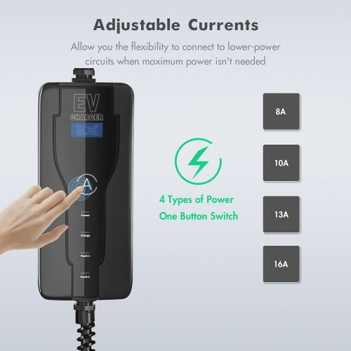 EV portable charging cable Type 2 to schuko with controlbox 16A-adjustable