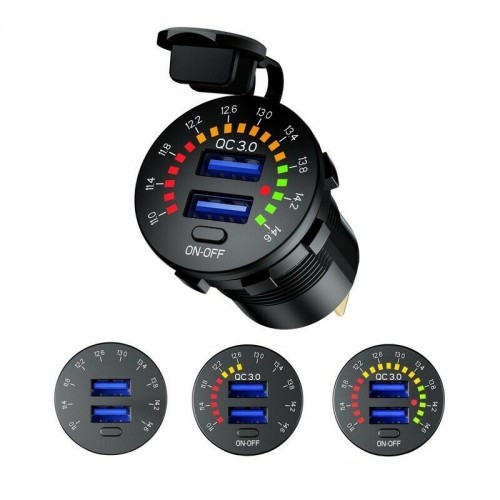 Dual USB Car Charger 12V Fast Charging Power Adapter Socket for Van Motorcycle
