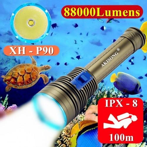 Scuba Ultra Bright Diving Flashlight IPX-8 Waterproof