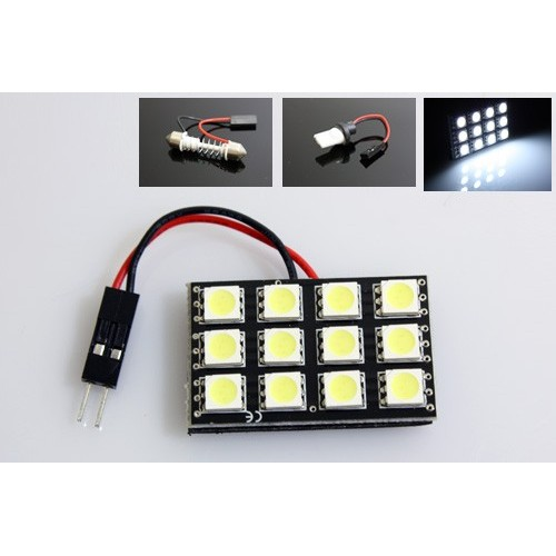 12-LED White Car Brake Lamp w/ T10 / BA9S / Festoon