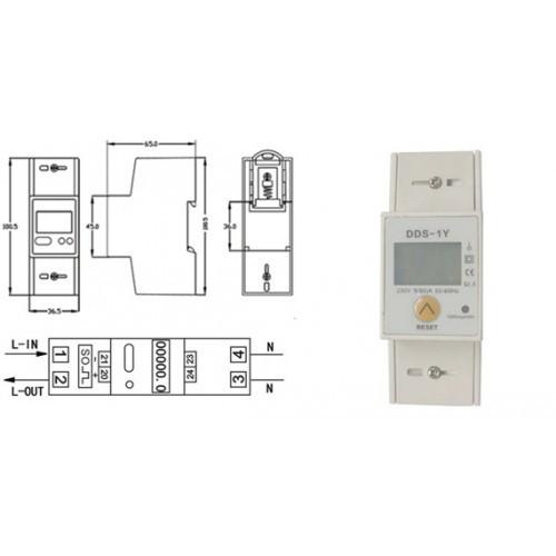 DIN RAIL DIGITAL kWh METER SINGLE-PHASE 5-80Α