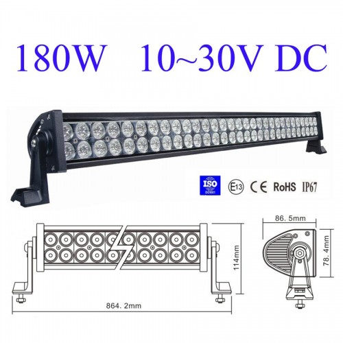 ΑΔΙΑΒΡΟΧΟΣ LED LIGHT BAR 180W 12 - 24 VDC 30° 60 COMBO